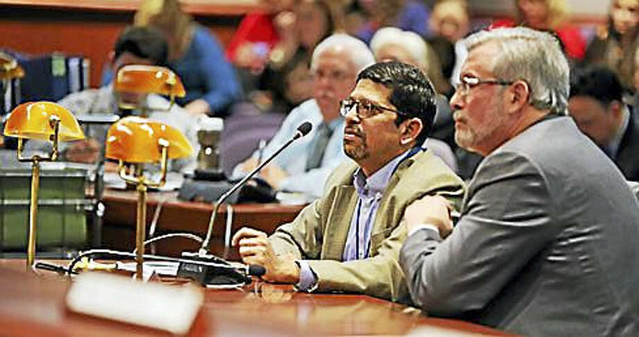 Dr. Deepak Cyril D'Souza testifies. He was introduced by Dr. William A. Petit, who is a state representative from Plainville. Photo: Christine Stuart — Ctnewsjunkie