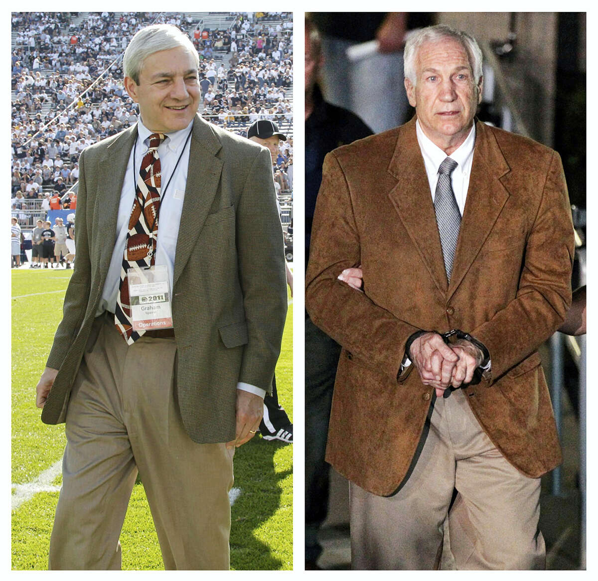 In this combination of file photos, Penn State President Graham Spanier, left, walks on the field before an NCAA college football game Oct. 8, 2011 in State College, Pa., and former Penn State assistant football coach Jerry Sandusky leaves in custody after being found guilty of child sexual abuse charges on June 22, 2012 at the Centre County Courthouse in Bellefonte, Pa. Jury selection is scheduled to begin in Harrisburg, Pa., on Monday, March 20, 2017 in Spanier's trial on charges that children were put at risk by how he responded to complaints about Sandusky more than 15 years ago.