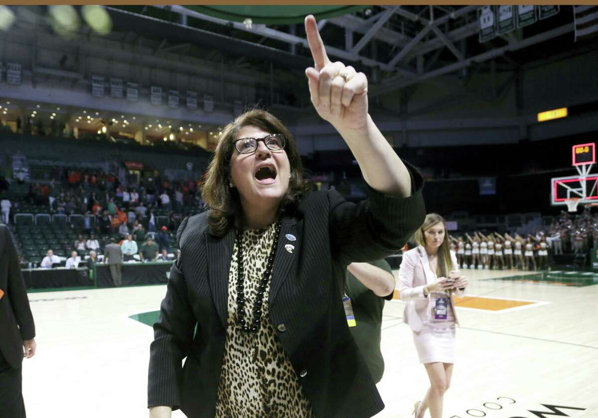 Quinnipiac head coach Tricia Fabbri reacts after a second round game in the NCAA women's college basketball tournament against Miami, Monday, March 20, 2017, in Coral Gables, Fla. Quinnipiac won 85-78. (AP Photo/Lynne Sladky)
