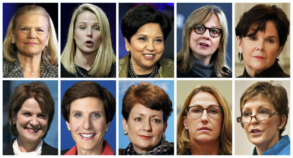 This photo combination of images shows the 10 highest paid women CEOs in 2016, according to a study carried out by executive compensation data firm Equilar and The Associated Press. Top row, from left: IBM CEO Virginia Rometty; Yahoo CEO Marissa Mayer; PepsiCo CEO Indra Nooyi; General Motors CEO Mary Barra, and General Dynamics CEO Phebe Novakovic. Bottom row, from left: Lockheed Martin CEO Marillyn Hewson; Mondelez International CEO Irene Rosenfeld; Duke Energy CEO Lynn Good; Mylan CEO Heather Bresch; and Reynolds American CEO Susan Cameron. (AP Photo)
