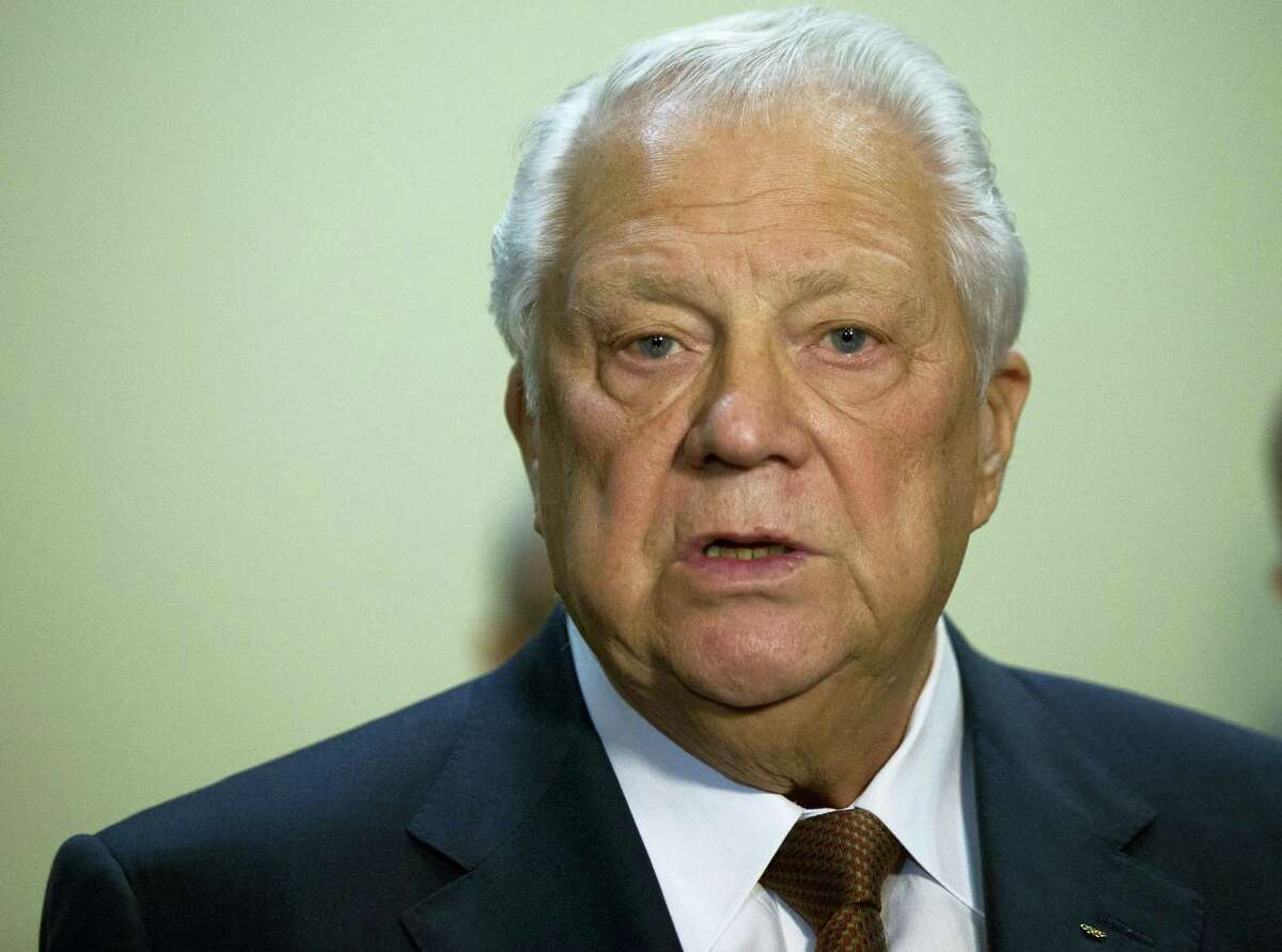 In this Tuesday, Oct. 25, 2016 photo Vitaly Smirnov, a former IOC member from Russia who runs a government-backed doping commission, speaks to the media in Moscow, Russia. A Russian anti-doping commission set up by President Vladimir Putin has called for new measures to claw back prize money from drug cheats and to restore trust in Russian athletes. The commission, headed by 82-year-old former International Olympic Committee member Vitaly Smirnov, denies the Russian government played any role in covering up drug use, as alleged by a World Anti-Doping Agency investigator's report last year.