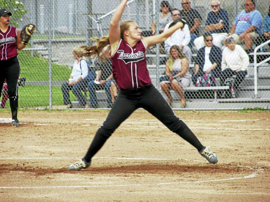 Torrington pitcher Ali DuBois gutted through the last three innings of her 12-inning NVL Tournament semifinal with Holy Cross with a split index finger on her pitching hand. Photo: Photo By Peter Wallace