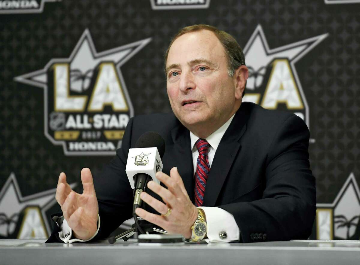 NHL Commissioner Gary Bettman speaks during a news conference at Staples Center on Saturday in Los Angeles.