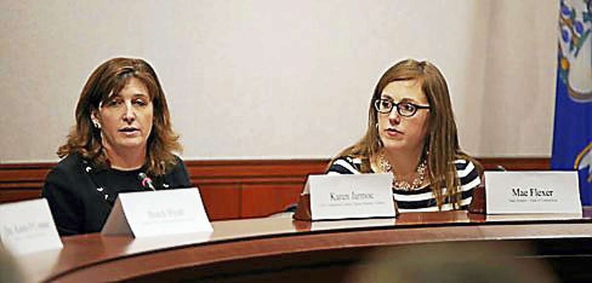 Karen Jarmoc, CEO and president of Connecticut Coalition Against Domestic Violence, and Sen. Mae Flexer, D-Killingly, host a discussion on dual arrests.