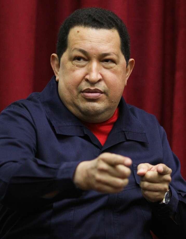 Venezuela's President Hugo Chavez speaks during a televised program from the Miraflores presidential palace in Caracas, Venezuela. Photo: Miraflores Presidential Office — The Associated Press  / Miraflores Press Office