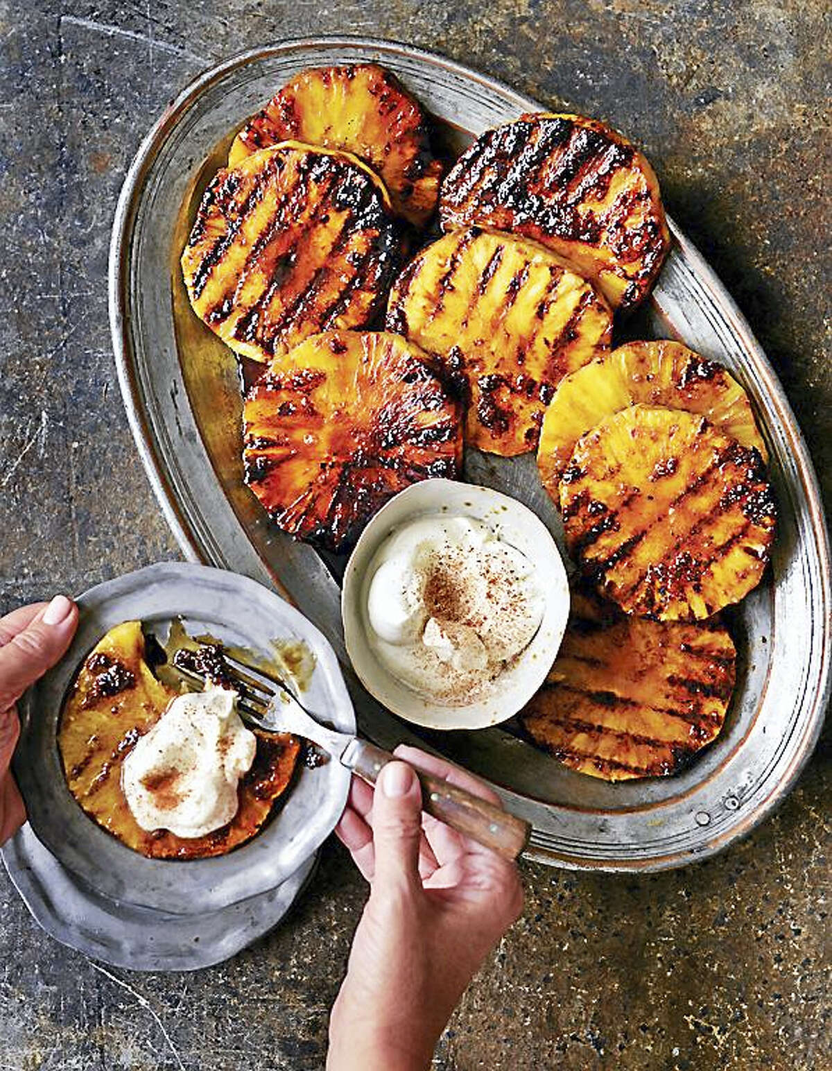 Spice-grilled pineapple with smoky whipped cream