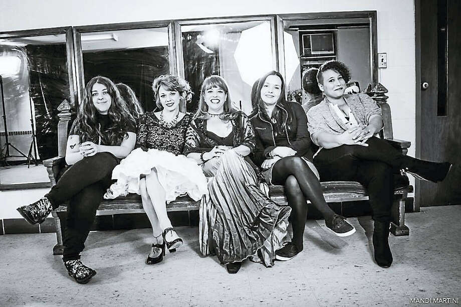 From left, That Virginia, Murderous Chanteuse, Darcy Abbott, Nan Roy, Sarah Golley are ready for S.W.A.N. Day CT at Trinity on Main in New Britain, a day celebrating women in the arts. Photo: Photo By Mandi Martini