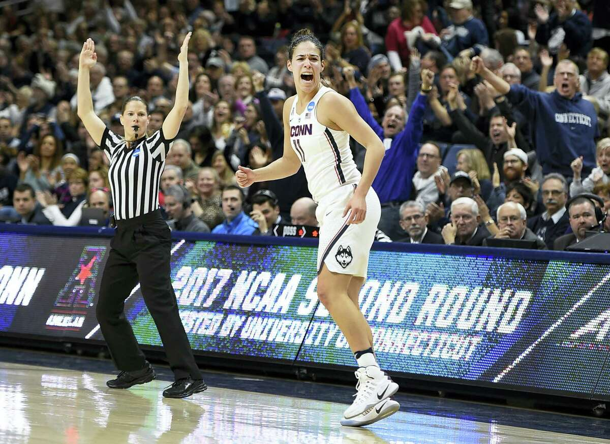 UConn's Kia Nurse reacts after hitting a 3-pointer in the first half against Syracuse on Monday in Storrs.