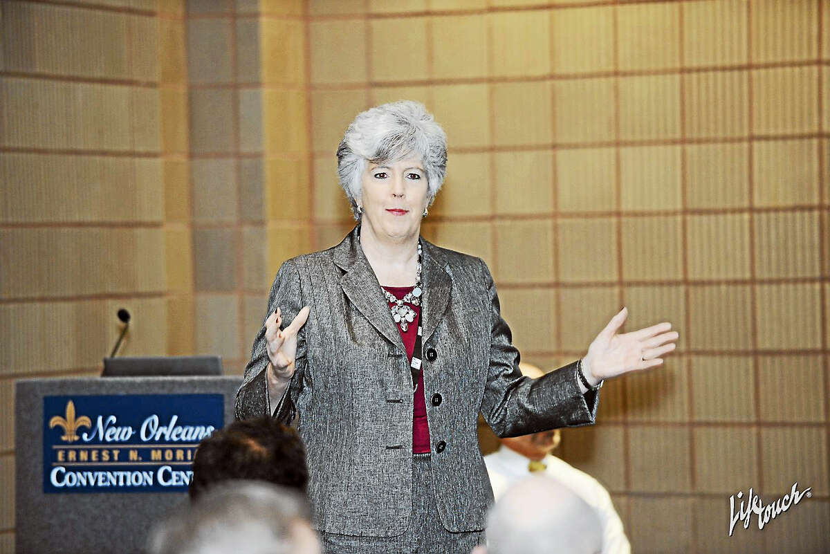 """Dr. Judith Palmer, Regional School District No. 7 Superintendent, discusses """"Working Together for Our Children"""" as a workshop at the American Superintendent's Annual Conference on March 4 in New Orleans."""