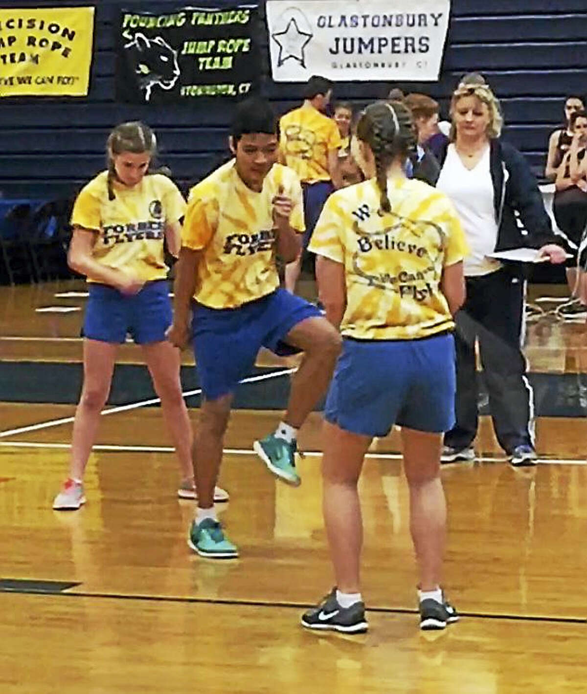 Contributed photos Forbes Flyer Dahdra Dy, center left, joins the team in the Double Dutch competition during the regional event in New Hampshire.