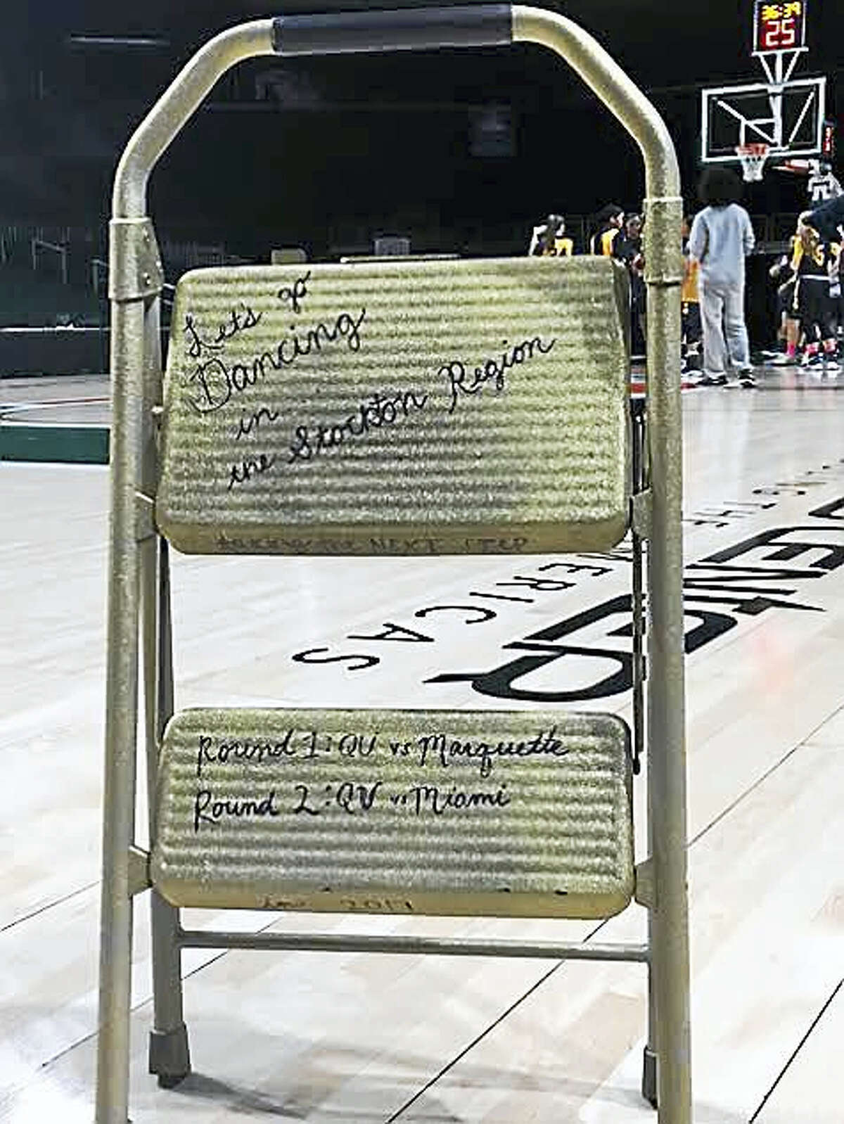 This step stool provides inspiration for the Quinnipiac women's basketball team as it climbs toward its goals.