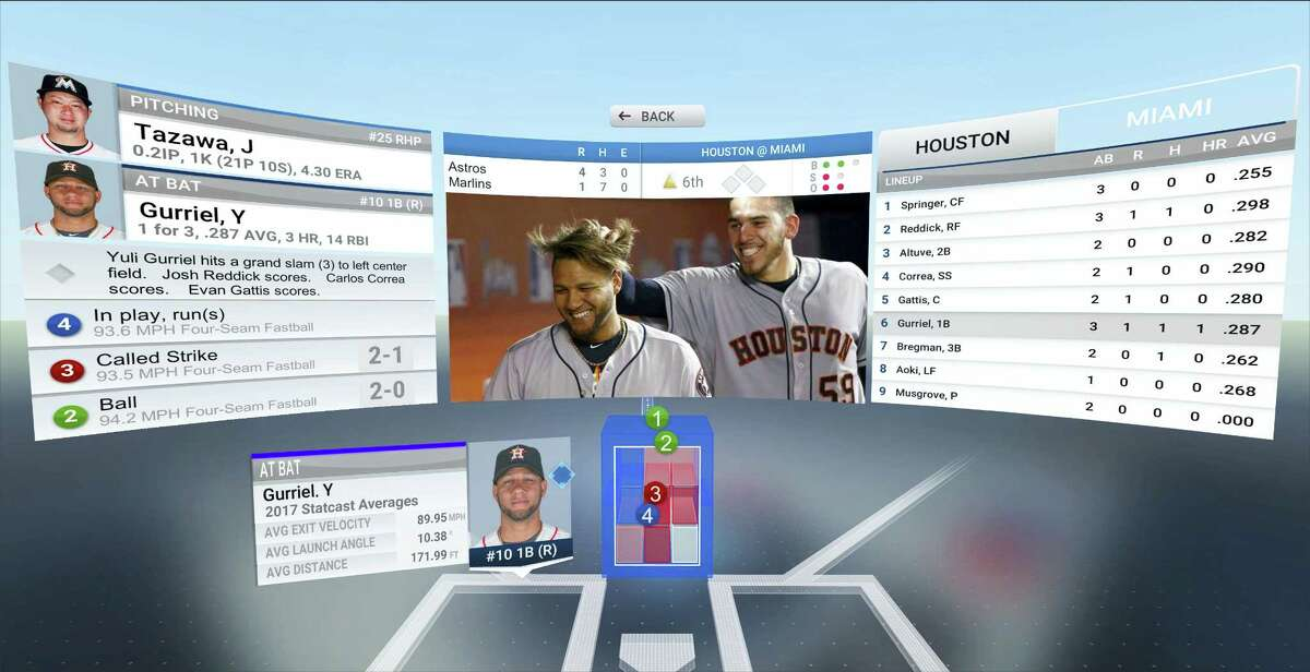This photo provided by MLB Advanced Media demonstrates 3-D pitch visualization in the company's new At Bat VR app.