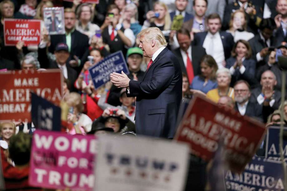 In this March 15, 2017 photo, President Donald Trump speaks at a rally in Nashville, Tenn. Trump is taking his message directly to his ardent supporters. At a series of upcoming rallies, he's working to recapture the enthusiasm of his campaign and reassure his supporters about his tumultuous early days in the White House. Photo: AP Photo — Mark Humphrey, File  / Copyright 2017 The Associated Press. All rights reserved.