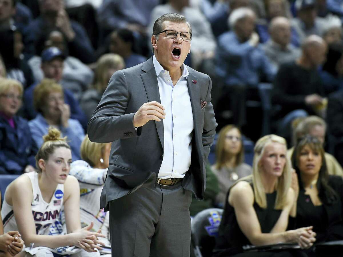 UConn head coach Geno Auriemma calls out to his team during Saturday's game.