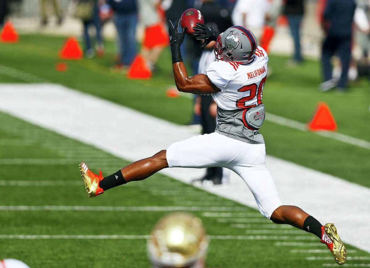 UConn safety Obi Melifonwu practices for Saturday's Senior Bowl in Mobile, Ala.