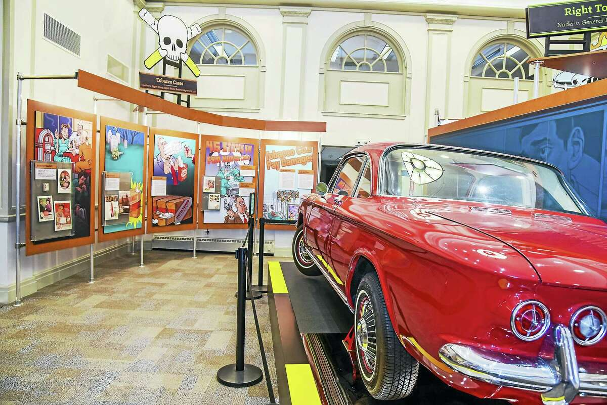 A Corvair is displayed at the American Museum of Tort Law in Winsted, where veterans from Winsted and Torrington will receive reduced admission and a special tour on Saturday, May 27.