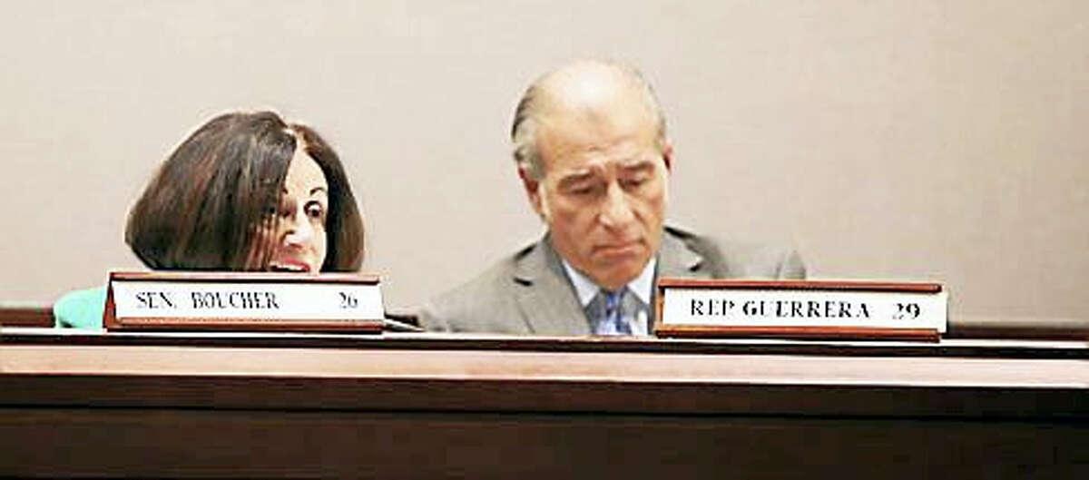 Sen. Toni Boucher, R-Wilton, and Rep. Tony Guerrera, D-Rocky Hill, debate tolls.