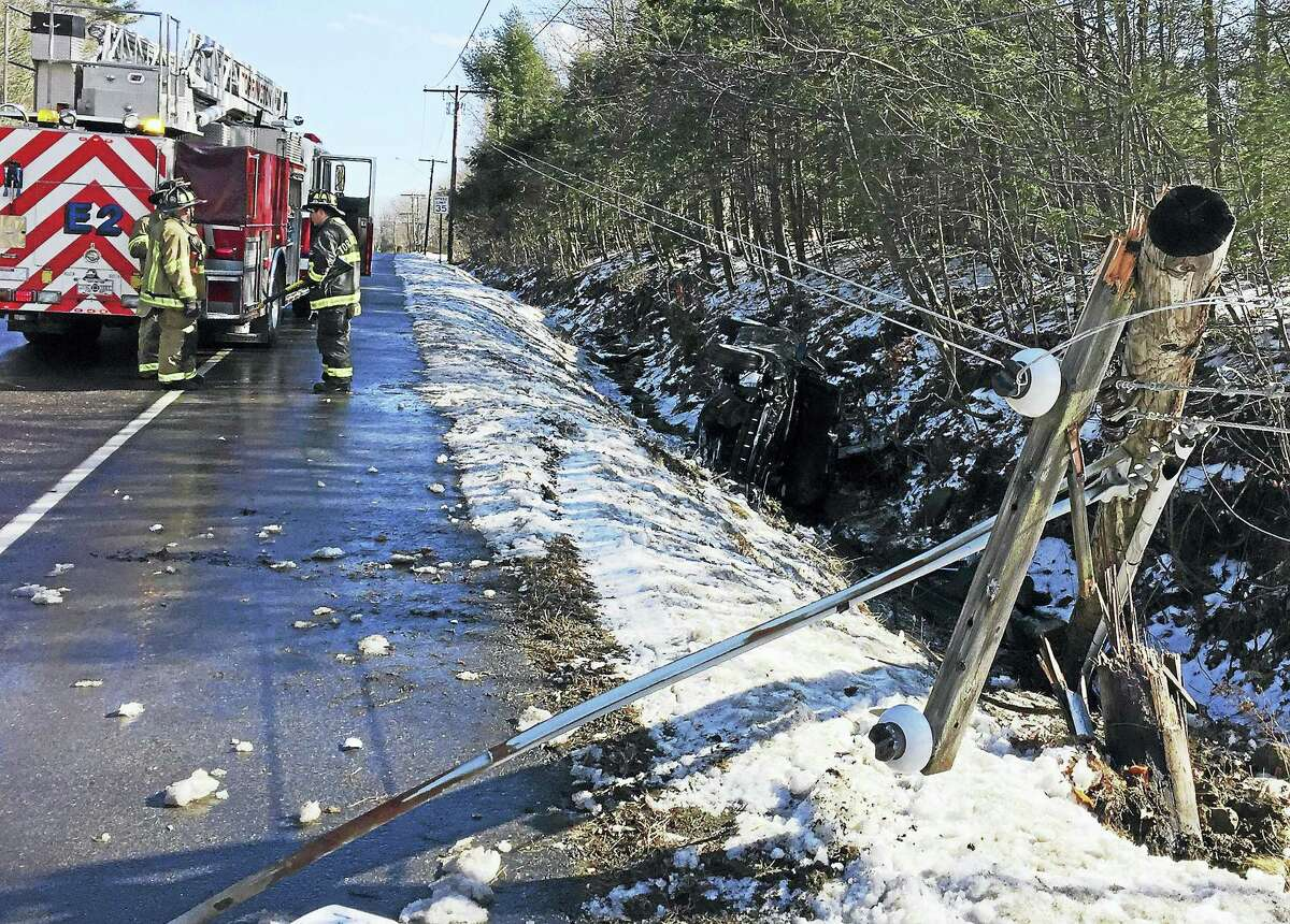 Part of Kennedy Drive was shut down after a vehicle crashed into a utility pole near Fox Run early Thursday afternoon. The driver was flown to Hartford Hospital by Life Star.