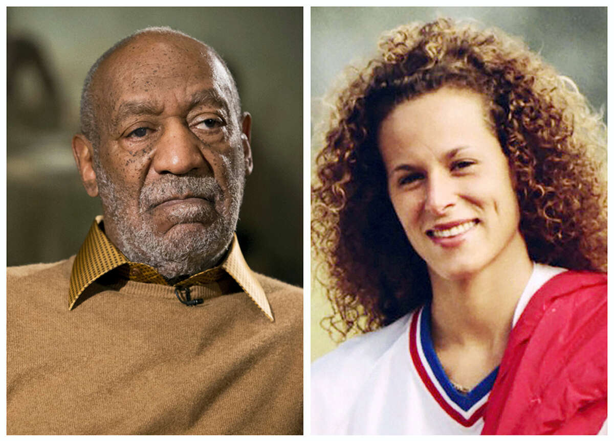 In this combination of file photos, entertainer Bill Cosby pauses during an interview in Washington on Nov. 6, 2014, and Andrea Constand poses for a photo in Toronto on Aug. 1, 1987. A crucial phase of Cosby's sex assault trial starts May 22, 2017, when lawyers gather in Pittsburgh to pick the jury that will decide if the actor drugged and molested Constand, a Temple University women's basketball team manager, at his home near Philadelphia in 2004.