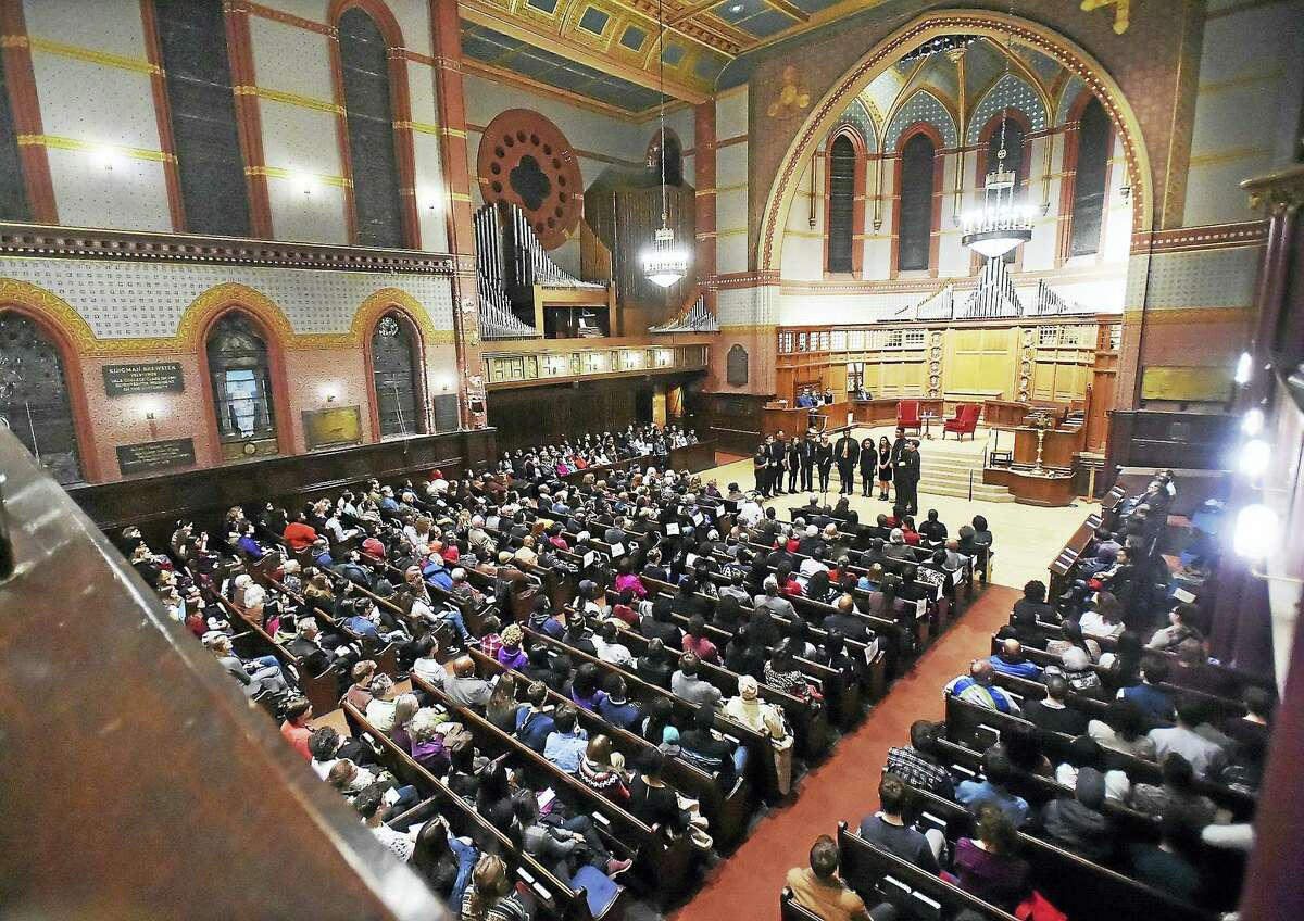 Shades of Yale, an undergraudate a cappella group at Yale University, performs Wednesday at the Rev. Dr. Martin Luther King Jr. Lecture at Yale's Battell Chapel in New Haven.