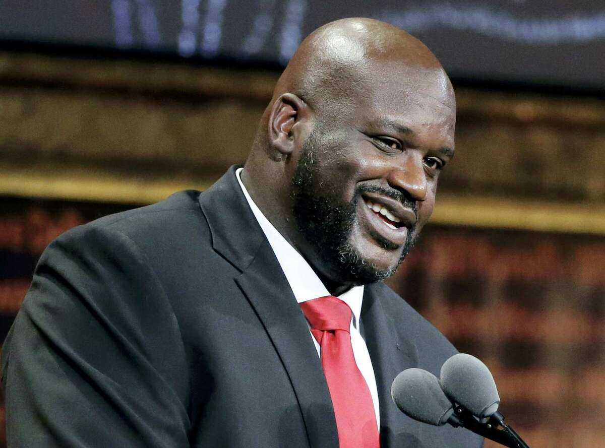 Basketball Hall of Fame inductee Shaquille O'Neal speaks during induction ceremonies at Symphony Hall on Sept. 9, 2016 in Springfield, Mass.