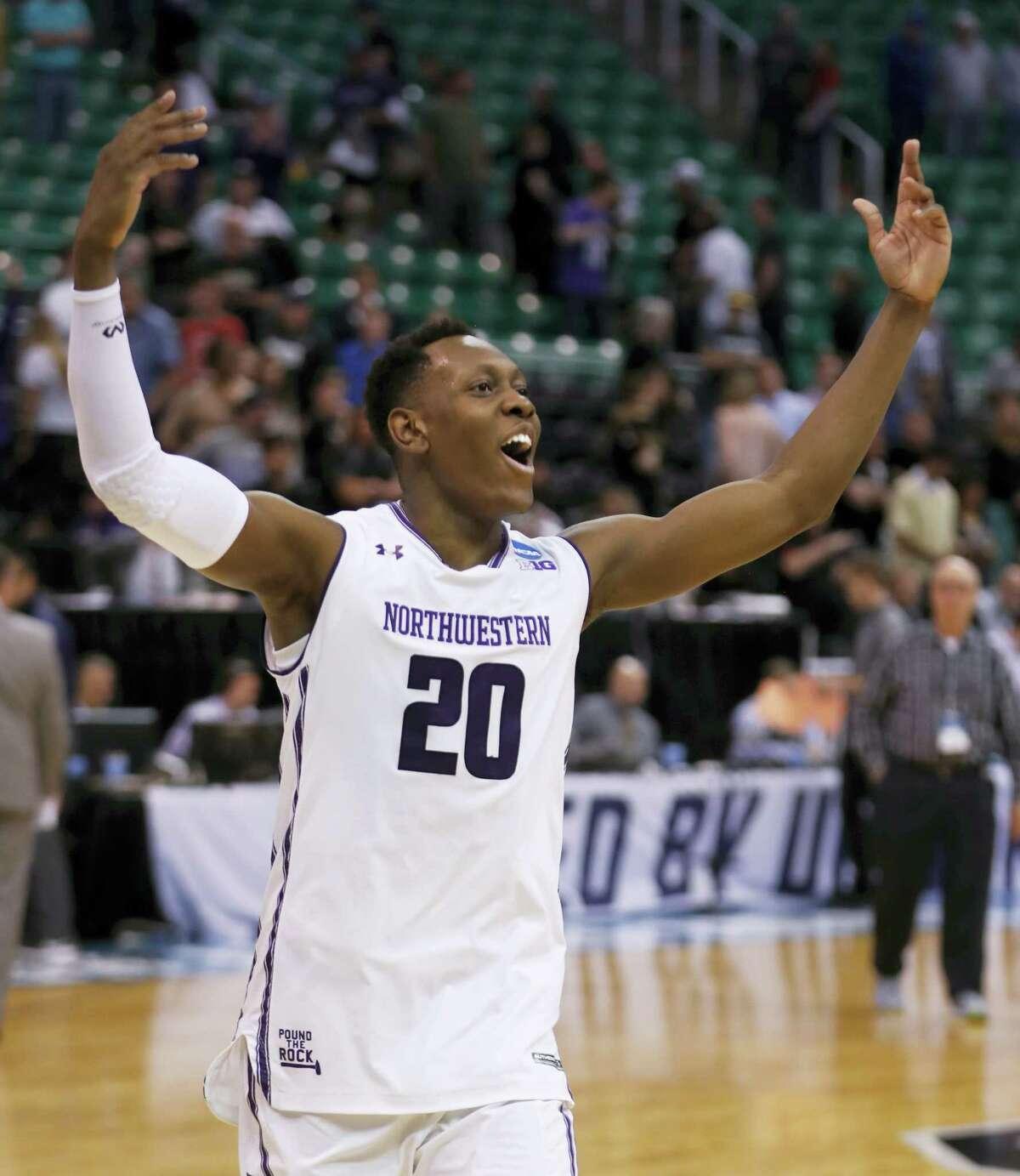 Northwestern guard Scottie Lindsey celebrates after Northwestern defeated Vanderbilt 68-66 in an NCAA Tournament first-round game Thursday in Salt Lake City.