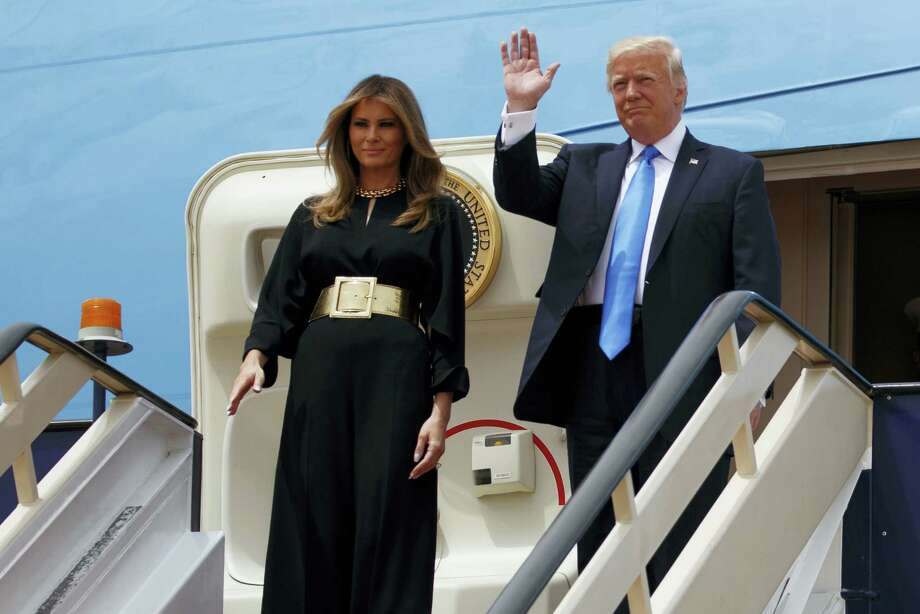 President Donald Trump and first lady Melania arrive for a welcome ceremony at the Royal Terminal of King Khalid International Airport, Saturday, May 20, 2017, in Riyadh. (AP Photo/Evan Vucci) Photo: AP / Copyright 2017 The Associated Press. All rights reserved.