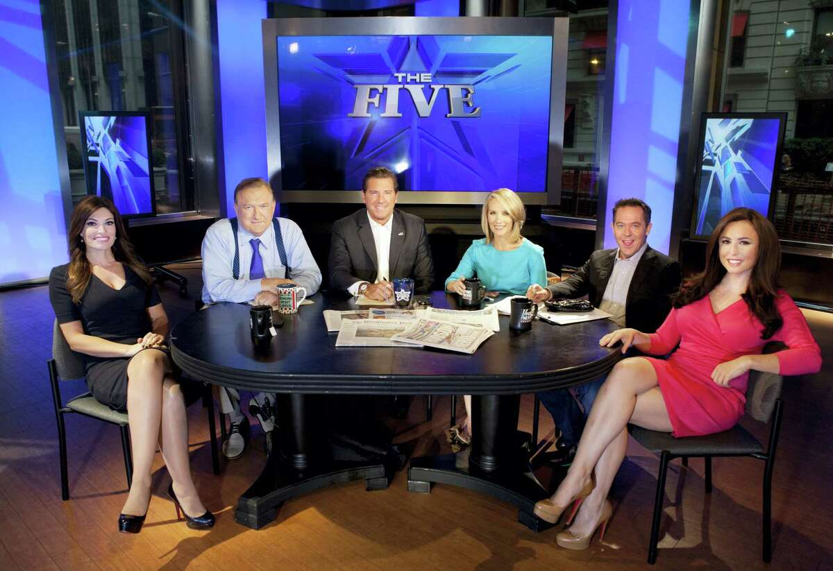 """This July 1, 2013, file photo shows, from left, Kimberly Guilfoyle, Bob Beckel, Eric Bolling, Dana Perino, Greg Gutfeld and Andrea Tantaros as co-hosts of Fox News Channel's """"The Five,"""" following a taping of the show in New York. Fox News Channel says it has fired Beckel for making an insensitive remark to a black employee. Beckel, who has been a liberal panelist on """"The Five,"""" was on his second tour of duty at Fox after being bounced in 2015 for substance abuse."""
