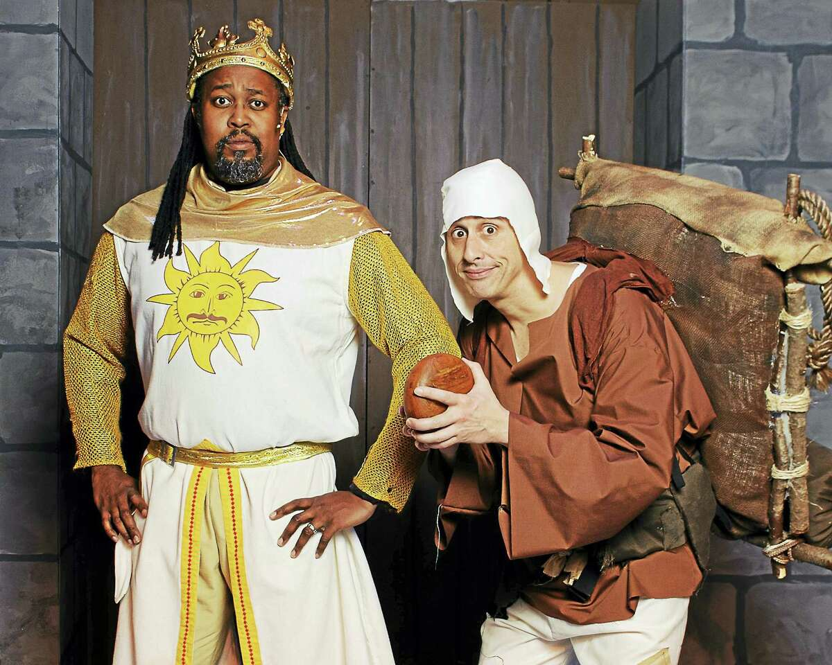 The hilarious Monty Python musical/comedy, Spamalot, opens this weekend at the Thomaston Opera House, staged by Landmark Community Theater. Above, Mensah Robinson as King Arthur and Joe Guttadauro as Patsy.