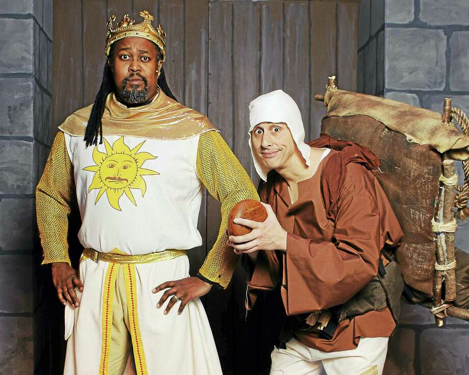The hilarious Monty Python musical/comedy, Spamalot, opens this weekend at the Thomaston Opera House, staged by Landmark Community Theater. Above, Mensah Robinson as King Arthur and Joe Guttadauro as Patsy. Photo: Lisa Cherie Photography  / Lisa Cherie