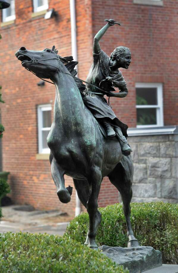 Anna Hyatt Huntington's sculpture, which depicts Sybil Ludington's ride to warn the Colonial militia that the British were burning Danbury in April 1777, sits in the courtyard of the Danbury Public Library. Photo: Carol Kaliff / Hearst Connecticut Media / The News-Times