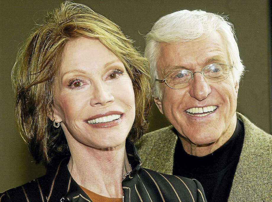 """Mary Tyler Moore and Dick Van Dyke pose together following a press conference announcing their reunion in a new television adaptation of the play, """"The Gin Game,"""" part of the drama series """"PBS Hollywood Presents,"""" in Los Angeles' Hollywood district Thursday, Jan. 9, 2003. The production marks the first time that Moore and Van Dyke have acted together since their original teaming in the classic comedy series, """"The Dick Van Dyke Show"""", in the 1960s. The show is set to air in Spring, 2003. Photo: AP Photo   / AP2003"""