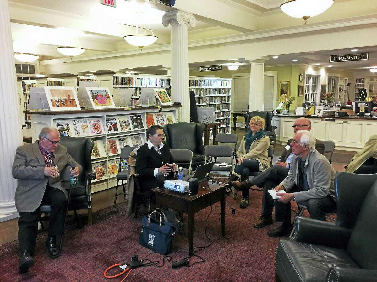 Ben Lambert - The Register Citizen Tatyana Ishutkina and Nikolay Synkov of the Fermata Arts Foundation gave an informational presentation about Kyrgyzstan, a countryin the former Soviet Union, at the Beekley library in New Hartford on Tuesday,