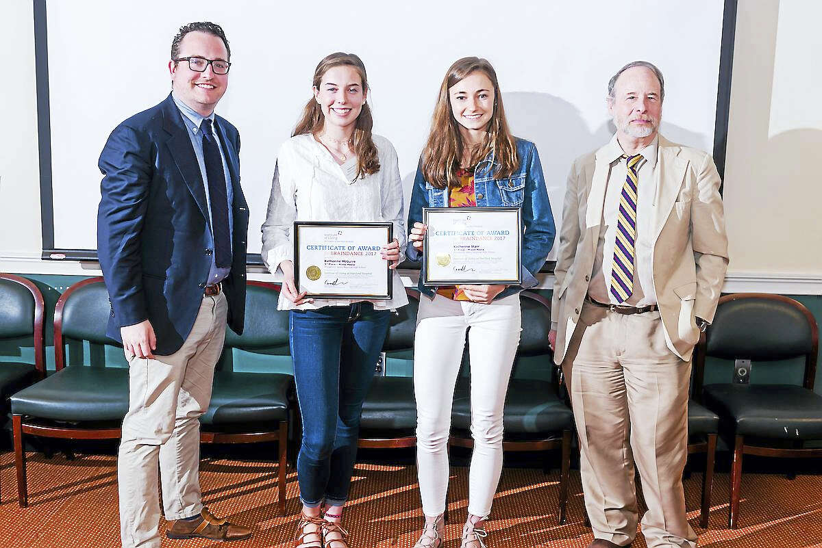 Contributed photo The 3rd Place winners in the Mixed Media category at the 2017 BrainDance Awards at the Institute Of Living are Katherine McGuire, second from left, and Katherine Starr, second from right. They are joined b Dr. Philip Corlett, left, and Dr. Godfrey Pearlson.