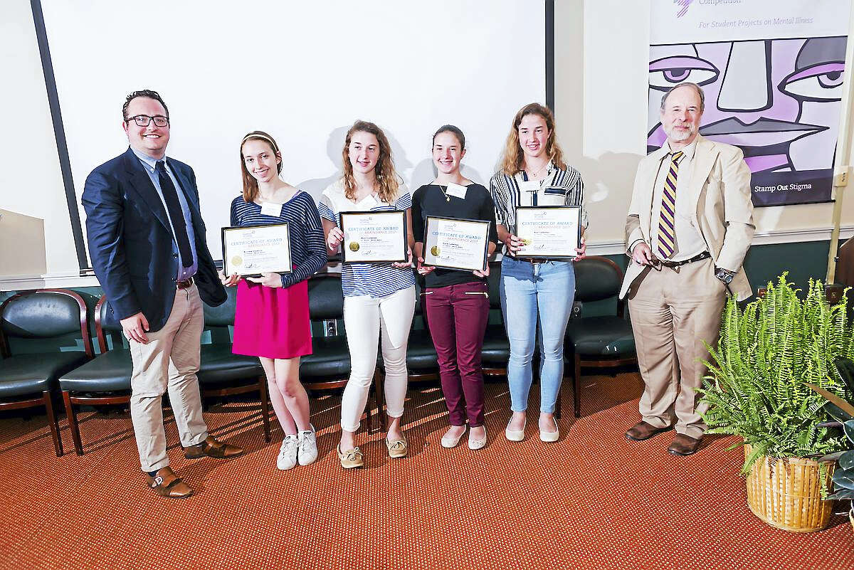 Contributed photo The 2nd Place winners in the Mixed Media category at the 2017 BrainDance Awards at the Institute Of Living, from left and joined by Dr. Philip Corlett, left, are Brooke Olownia, Mari Cullerton, Kyra Cullerton, Eve Cullerton and presenter Dr. Godfrey Pearlson