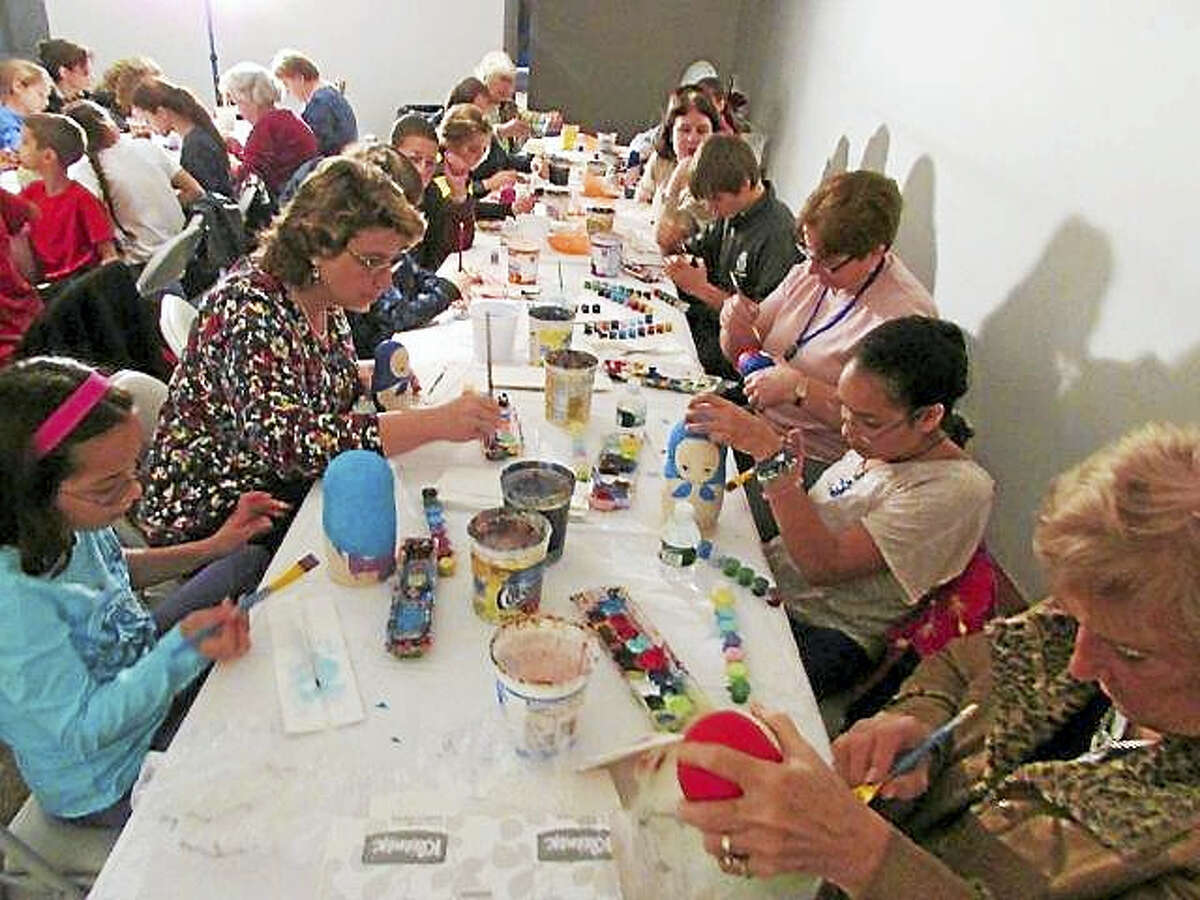 Participants create their own Russian nesting dolls.