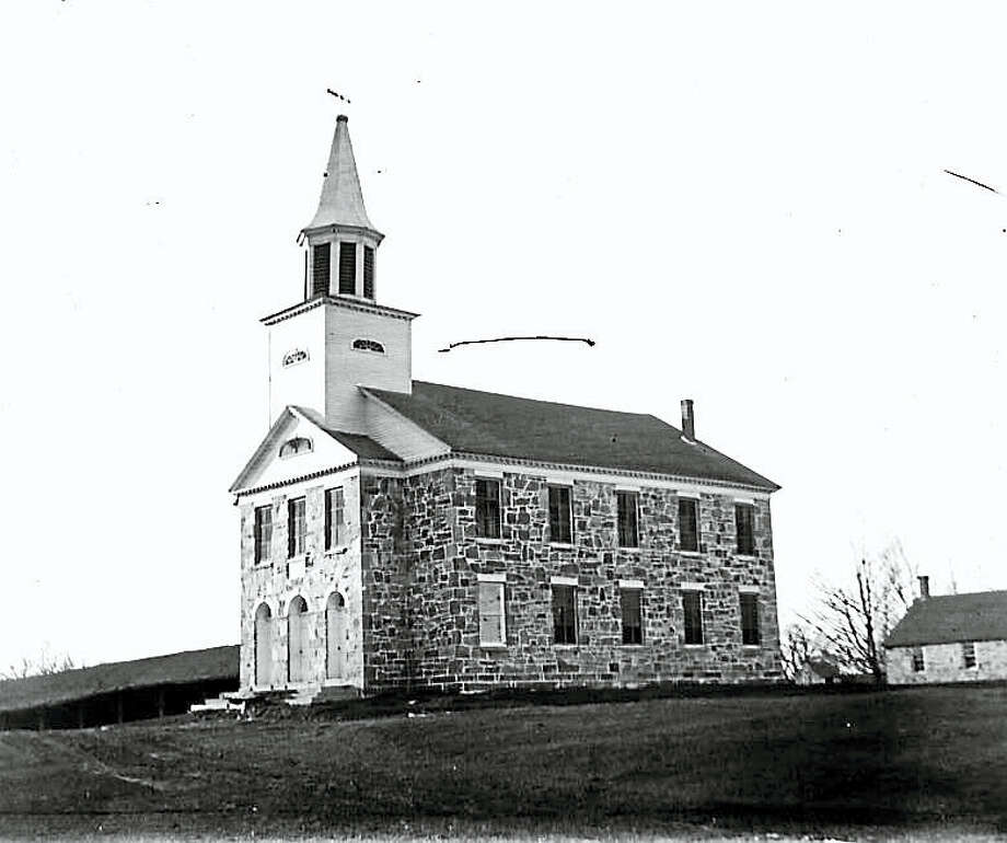 The Stone Church of the First Ecclesiastical Society of New Preston at 100 New Preston Hill Road. Photograph by Joseph West in 1899. Photo: Photo Courtesy Of The Gunn Historical Museum