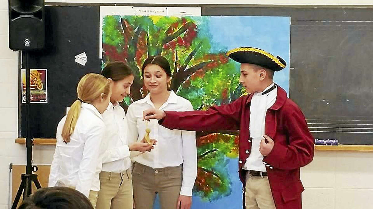 Contributed photo Students perform an original play on Nathan Hale at Torrington High School during the Torrington History Day Regional Competition.