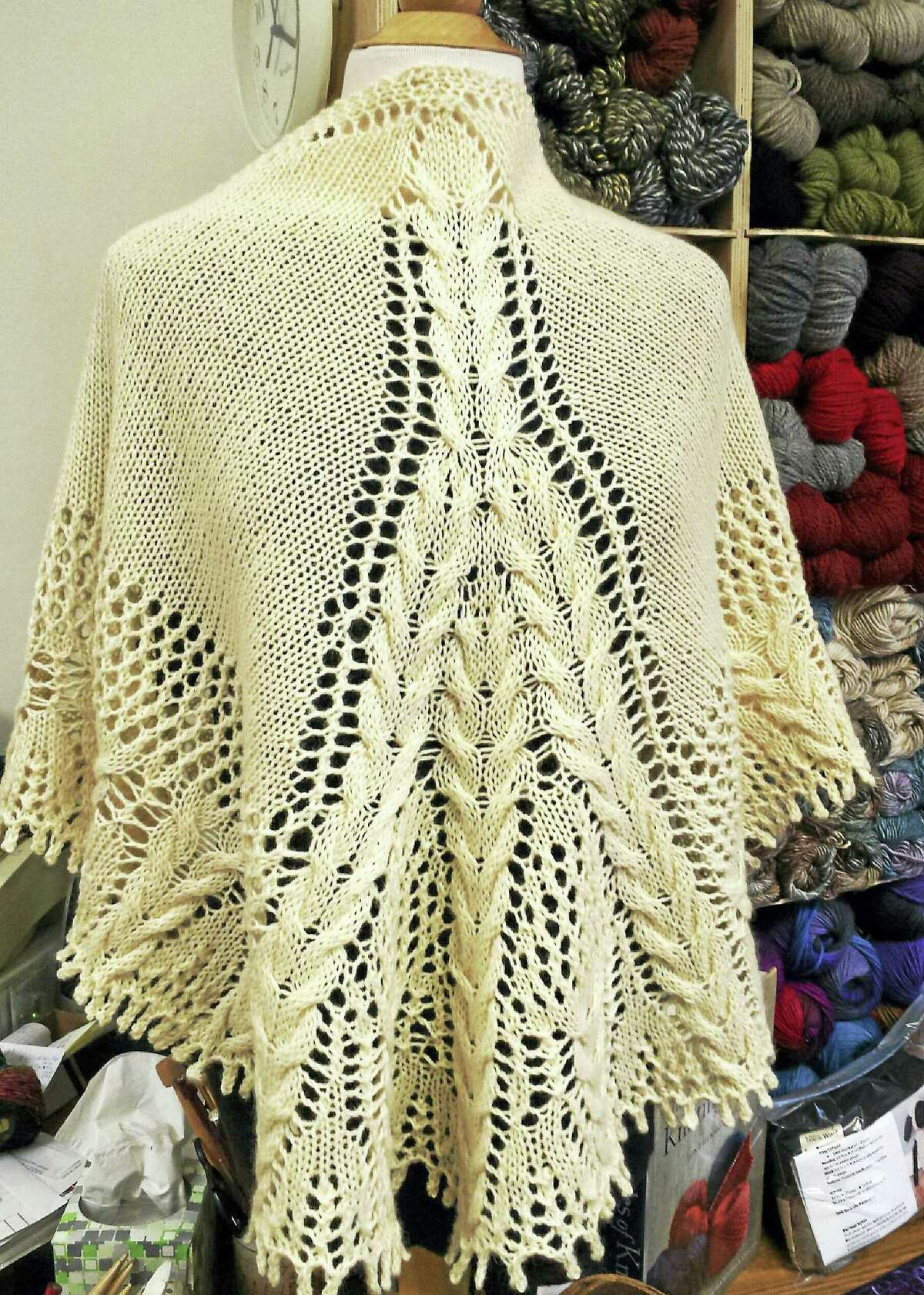A shawl knit-along will be held Sunday at In Sheep's Clothing, 10 Water St., Torrington. Participants can learn to make a shawl like this one.