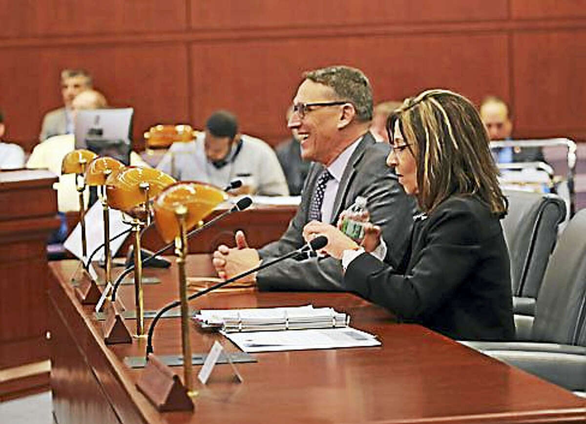 Lisa Grasso Egan and Ben Barnes testify at the Appropriations Committee Public Hearing.