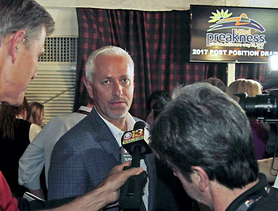 Always Dreaming trainer Todd Pletcher listens to questions following the post-position draw for Saturday's Preakness Stakes on Wednesday. Photo: Garry Jones — The Associated Press  / FR50389 AP