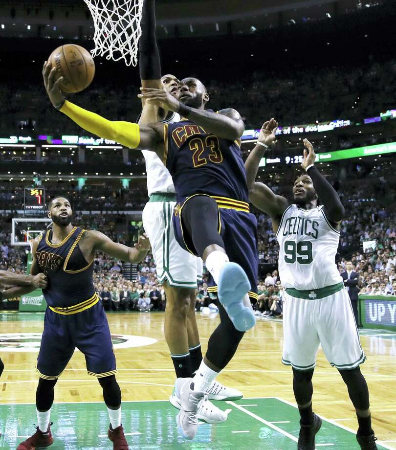 Cavaliers forward LeBron James drives to the basket during Game 1 on Wednesday. Photo: Charles Krupa — The Associated Press  / Copyright 2017 The Associated Press. All rights reserved.