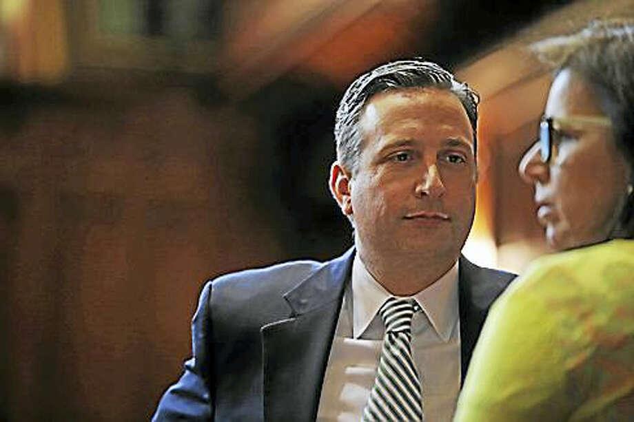 State Senate Majority Leader Bob Diff, D-Norwalk, talks to state Sen. Gayle Slossberg. Photo: Christine Stuart — Ctnewsjunkie