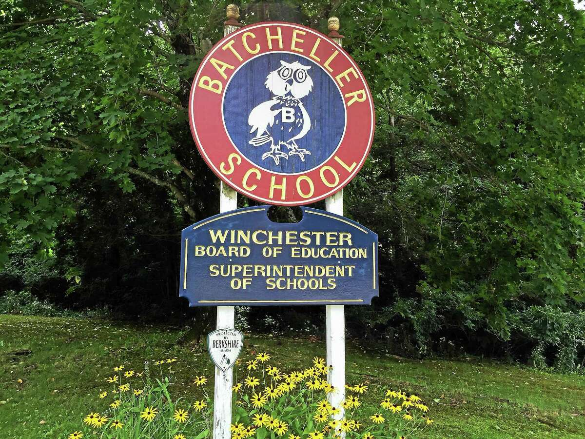 The sign at the Batcheller Early Education Center, which doubles as the home of the district offices.