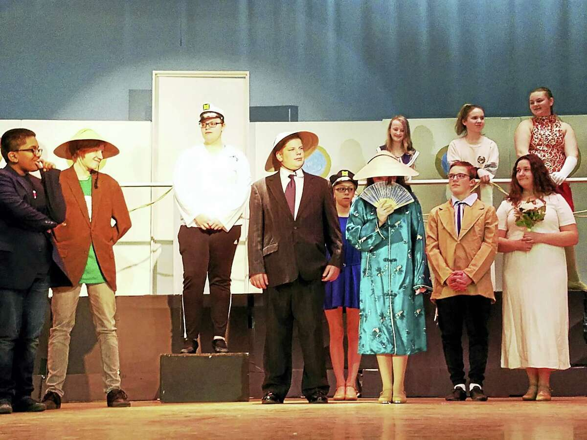 Torrington Middle School's cast of Anything Goes rehearses the finale of the musical, in preparation for three performances on March 16, 17 and 18.