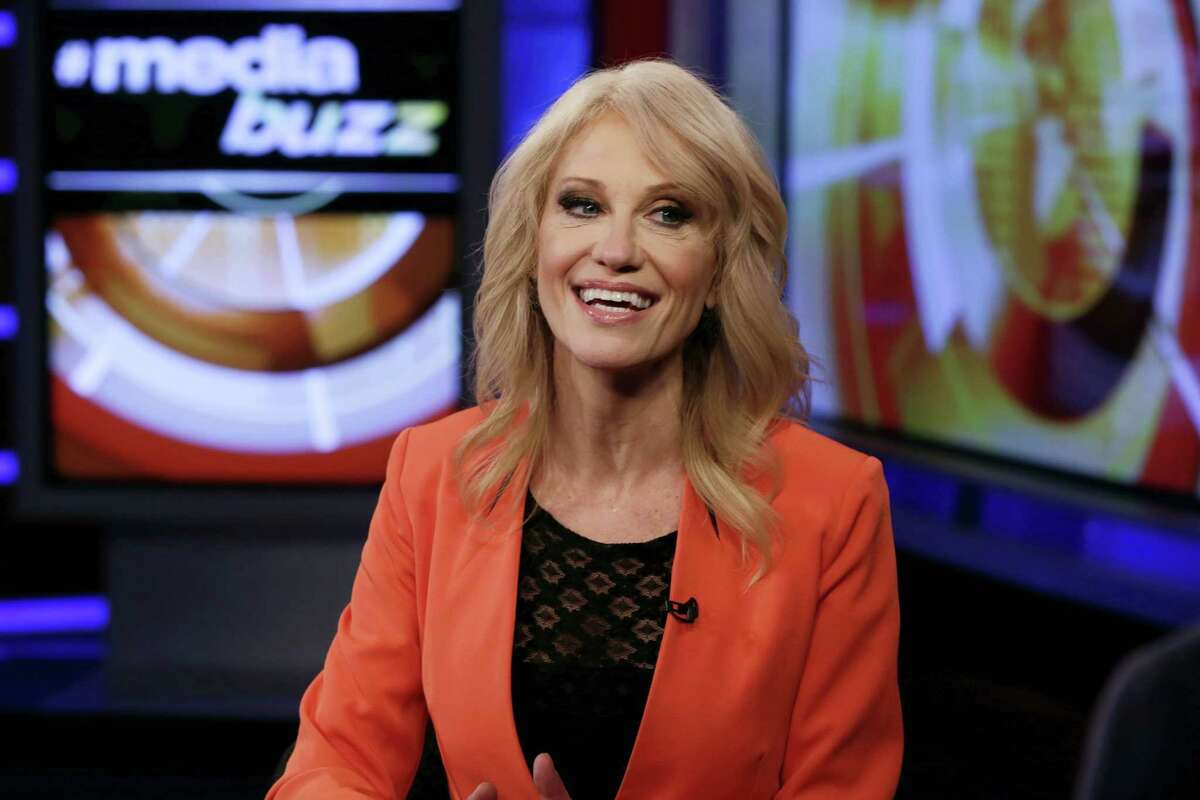 """White House counselor Kellyanne Conway is interviewed by Howard Kurtz during a taping of his """"MediaBuzz"""" program on the Fox News Channel in New York on March 10, 2017."""