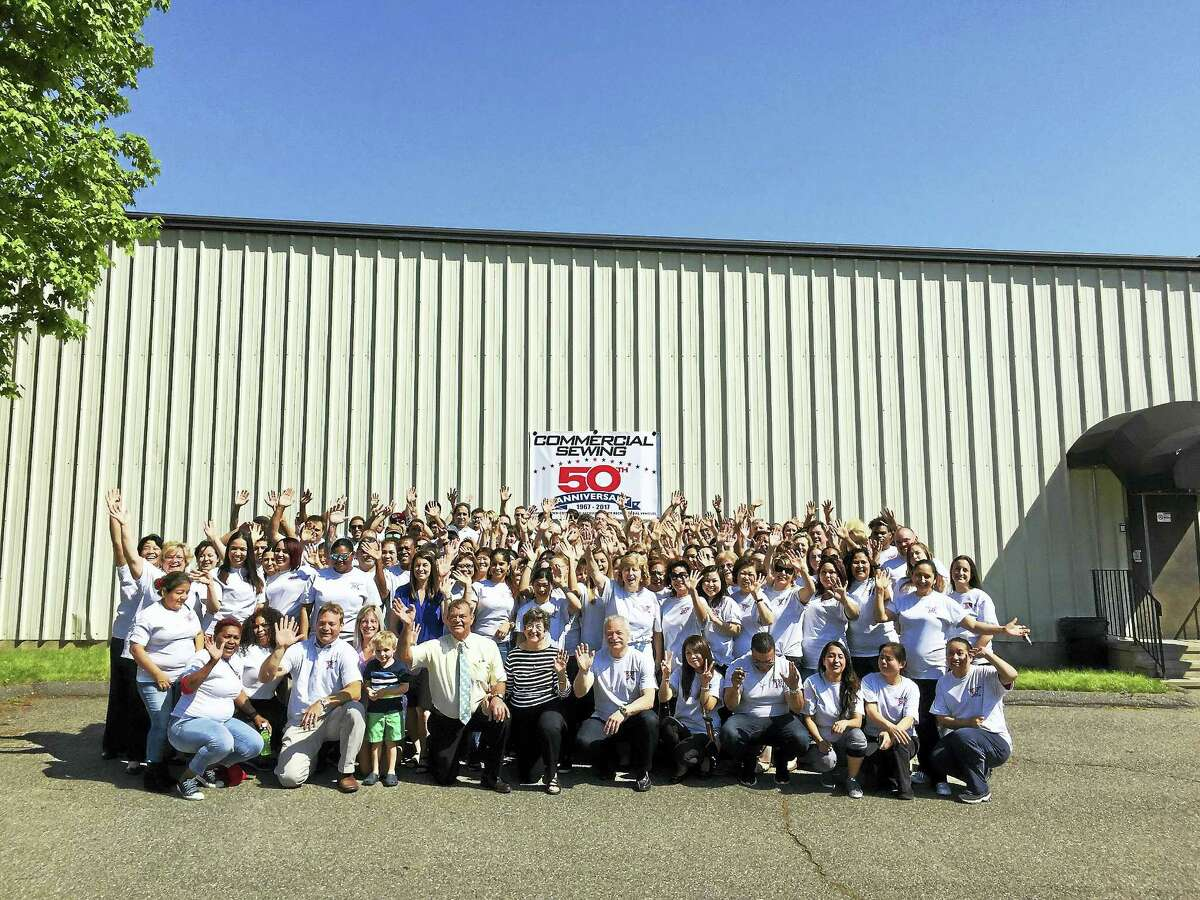 The employees of Commercial Sewing celebrated the company's 50th anniversary Wednesday in Torrington.