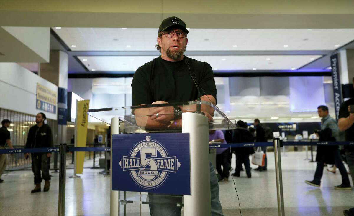 Former Houston Astros first baseman Jeff Bagwell speaks to reporters Wednesday in Houston.
