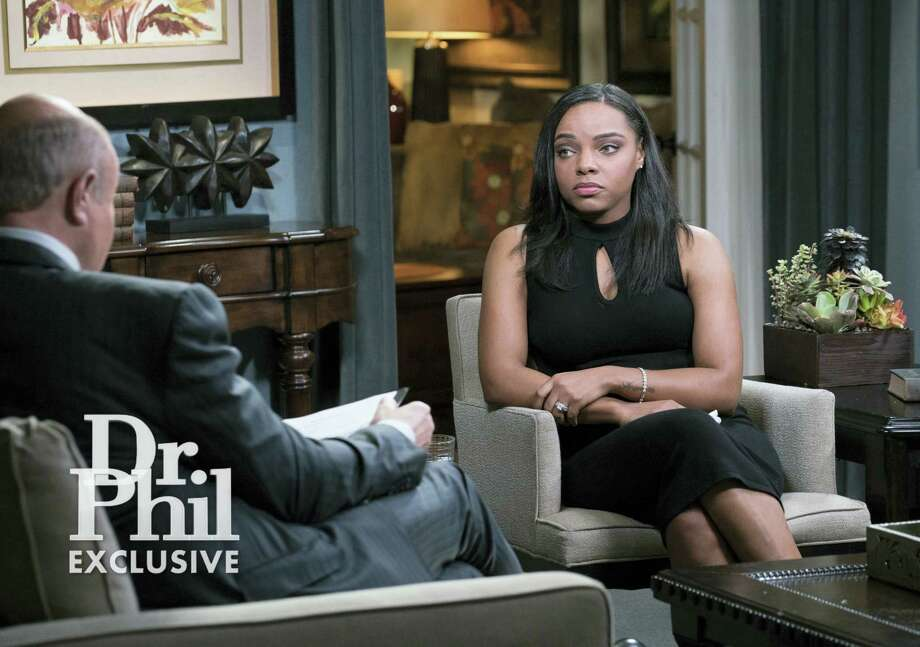 """This image released by CBS Television Distribution shows Shayanna Jenkins-Hernandez, fiancee of former NFL player Aaron Hernandez, during an interview on the """"Dr. Phil"""" show. The two-part interview is scheduled to air Monday and Tuesday. Photo: CBS Television Distribution Via AP  / CBS Television Distribution"""
