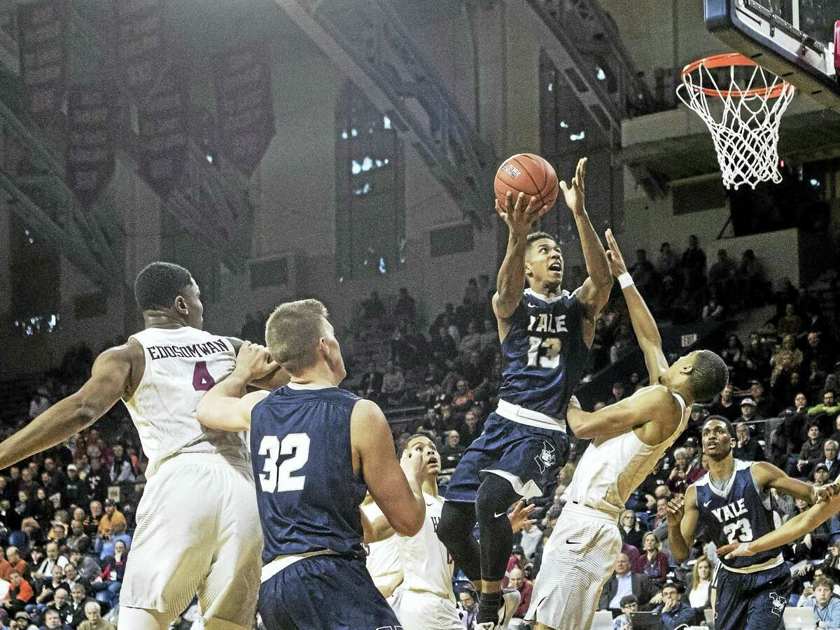 Yale's Trey Phills goes up for a shot during Saturday's Ivy League semifinal in Philadelphia.